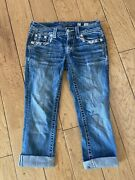 Miss Me Jeans Blue Cuffed 27 Embroidered Pink White Rhinestoned Silver Studded