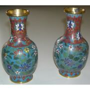 Antique 19th Chinese Cloisonné Metal Pair Of Vases With Flower Decorations