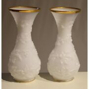 Antique 19th France Original Pair Of White Opaline Cone Vases Glided Decoration