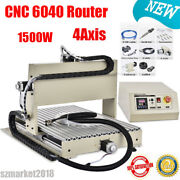 1500w Spindle 4 Axis 6040 Cnc Router Engraver Diy Milling Driiling Machine + Usb