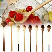1 Pc Japanese-style Round Mixing Wooden Spoon Long Tea Z Soup Handle Spoons M3k6