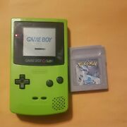 Nintendo Game Boy Color Green Works Good Comes With Pokemon Silver Version