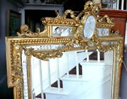 Thebest Antique French Louis Xvi Carved Giltwood W/cut Glass Panel Mirror 6and039 Ht