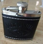 Jack Daniels Black Leather Flask Pre-owned In Very Good Condition