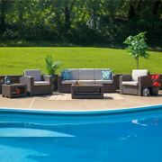 Durable 5 Piece Outdoor Faux Rattan Chair Sofa And Table Set In Chocolate Brown