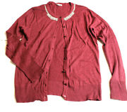 Merona Sweater Womens Embellished Button Up Light Sweater Ls Maroon