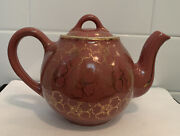 Vintage Antique Mcm Hall 4 Cup Rose Stoneware Teapot Gold French Daisy