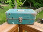 Vintage Union Steel Tackle Tool Utility Box Chest Made In Usa Patina Decorative