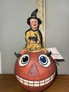 Folk Art Poliwoggs Witch With Cat On Jack O Lantern Halloween 2000 11andrdquo