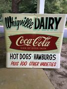 1960s Coca Cola Fishtail Sled Sign Hand Painted Privilege Areas