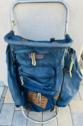 Vintage Jansport Frame Blue Backpack Hiking Mountaineering Leather Patches