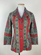 Vtg 60s 70s Faded Red Quilted Jacket Xs Paisley Print Fitted Boho Hippie Retro