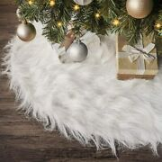 White Faux Fur Christmas Tree Skirt Base Cover Mat For Christmas Decorations