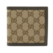 Guccigg Canvas Two Folded Wallets Two Folded Wallet Leather Chaki Beige Tea