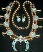 Native American Navajo Turquoise Gold Squash Blossom Necklace Signed G.w.h.
