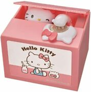 Sanrio Hello Kitty Moving Electronic Coin Money Piggy Bank Box Pink Japan New