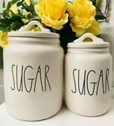 2x Rae Dunn Vhtf Sugar Canisters Jars Set Small Baby Size With Lid Farmhouse Ll
