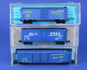Lot Of 3 N Scale 40' And 50' Blue Box Cars / Various Roads