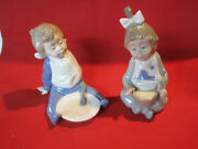 Vintage Nao Lladro Figurines I'm Full And Souptime, Daiso Childhood Collection