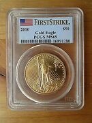 2010 50 American Gold Eagle 1 Oz. Pcgs Graded Ms69 And Certified First Strike
