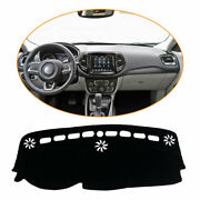 Black Car Dashboard Cover For Jeep Compass 17-21 Dash Mats Shade Protective Pad