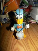 1950and039s Line Mar Marx Donald Duck Wind Up Drummer Non Working Shelf Sitter