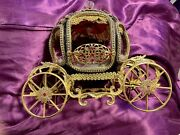 Emu Egg Carriage 24k Plated Princess Lace Crystals Brocade Faux Fur