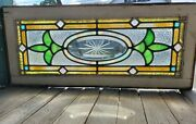 Small Antique Stained Glass Window W Cut Bevel Center
