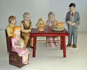 """Nib Vintage 1987 Figurines """"a Family Thanksgiving"""" Set Of 8 Pcs. W/wooden Table"""