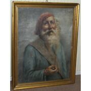 Antique 19th Italian Rare Oil Painting On Canvas Portrait Man With Pipe Signed