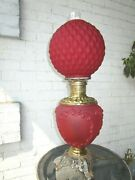 Red Ruby Satin Glass Gone With The Wind Lamp Beautiful