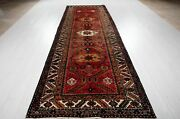 Vintage Runner Rug Soft Red 10and039 8 X 3and039 7 Hand-knotted Antique Hallway Carpet