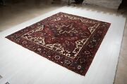 Collectible Large Vintage Area Rug Red 9and039 X 7and039 8 Geometric Tribal Carpet Square