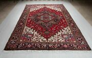 Vintage Geometric Oriental Area Rug Red 7x10 Low Pile Soft Hand-knotted Carpet