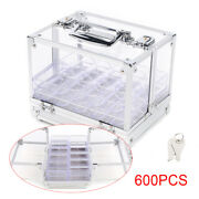 Clear Acrylic Chip Locking Carrier 600 Count Poker Chip Set W/6 Chip Racks Us