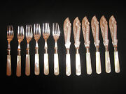 Antique Silver Fish Knives And Forks - Mother-of-pearl Handles, 6 Sets