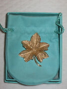 Vintage And Co. 14k Gold Maple Leaf Pin Brooch - Drawstring Pouch And Box
