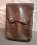 Antique Wwii Military Brown Leather Ammo Magazine Case Bag W/ Belt Loops