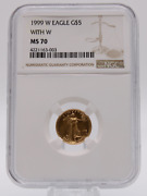 1999-w 5 Gold Eagle Ngc Ms70 Mint Error Struck With Unfinished Proof Dies