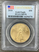 2010 1 Oz Gold American Eagle Pcgs Ms70 First Strike Flag Label