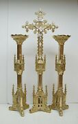 + Pair Of Traditional Gothic 18 Church Candlesticks With Altar Cross + 117
