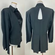 Vtg 90s Tuxedo With Tails Evening Jacket 6 / S Black Satin Shirt Front Cutout