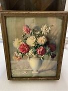 Antique Wood Picture Frame Mirror Lid Jewelry Dresser Box Peonies Carle Blenner