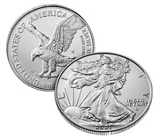 Ase Silver Eagle 2021-w T2 Burnished One Ounce Uncirculated Coin 21egn Box Of 10