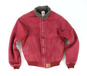Vintage Red Duck Canvas Quilt Lined Zip Up Work Wear Jacket J13