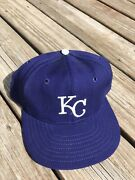 Vintage Kansas City Royals Roman Pro Fitted Hat Cap Size 7 3/8 Usa Made Wool