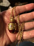 Joan Rivers Egg Pendant Necklace Red Enamel With Gold Red And White Crystal Accent