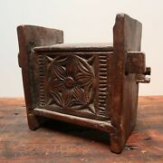 Antique Wooden Stool With Storage Hand Carved Primitive Country Farm Decor