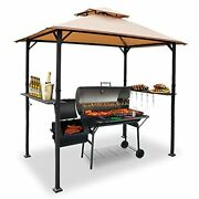 8and039x5and039 Grill Gazebo Bbq Patio Shelter Canopy For Outdoor Barbecue Tent Beige New