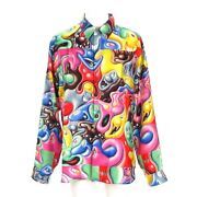 Auth Dior/christian Dior Dior And Kenny Scharf Red Yellow Silk Mens Shirt 43